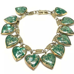 Vintage Green Foiled Warner Heart Charm Bracelet